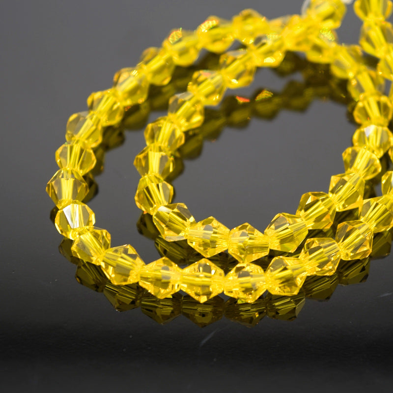 Faceted Bicone Glass Beads - Yellow