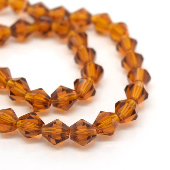 STAR BEADS: 50 x Faceted Bicone Glass Beads 6mm - Amber - Bicone Beads