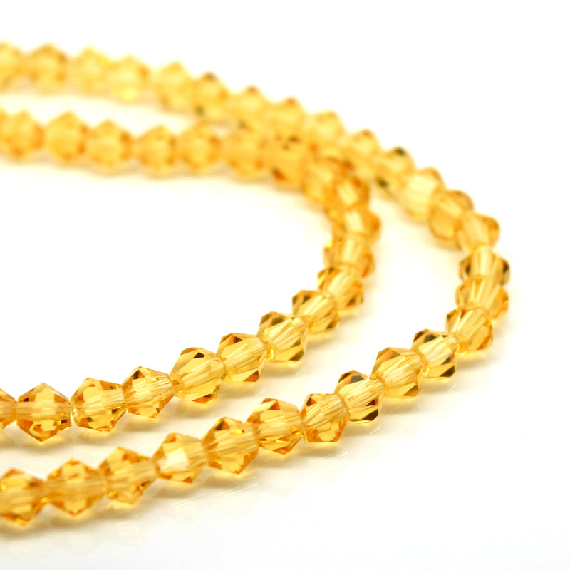STAR BEADS: Faceted Bicone Glass Beads - Champagne - Bicone Beads