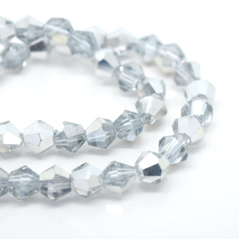 STAR BEADS: Faceted Bicone Glass Beads - Crystal / Metallic Silver - Bicone Beads