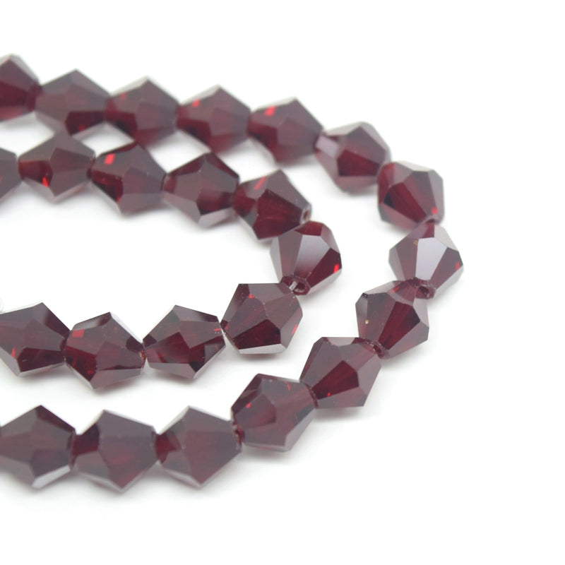STAR BEADS: 40 x Faceted Bicone Glass Beads 8mm - Dark Siam - Bicone Beads