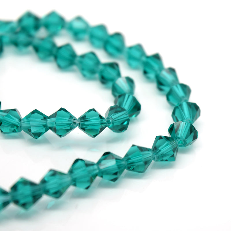 STAR BEADS: Faceted Bicone Glass Beads - Emerald - Bicone Beads