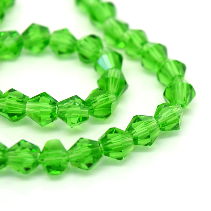 STAR BEADS: Faceted Bicone Glass Beads - Fern Green - Bicone Beads