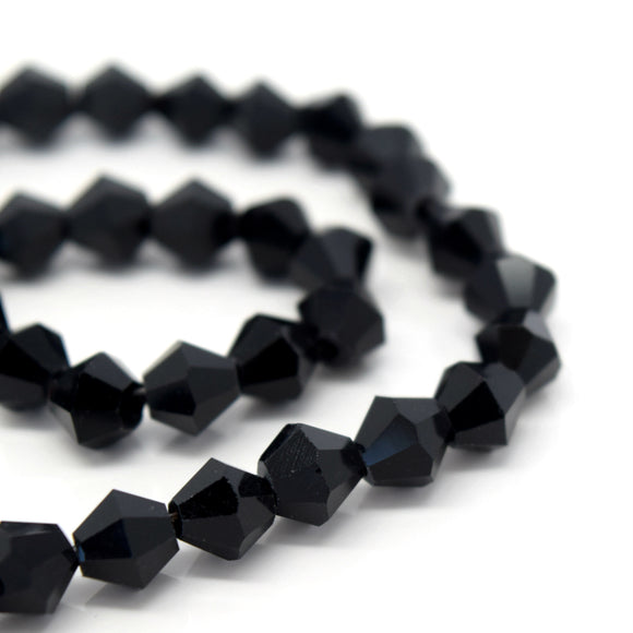 STAR BEADS: Faceted Bicone Glass Beads - Jet - Bicone Beads