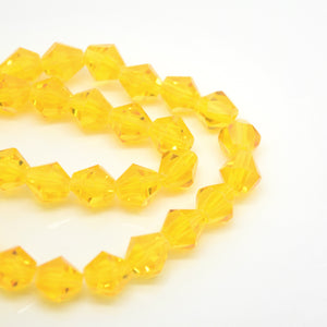 STAR BEADS: 40 x Faceted Bicone Glass Beads 8mm - Light Orange - Bicone Beads