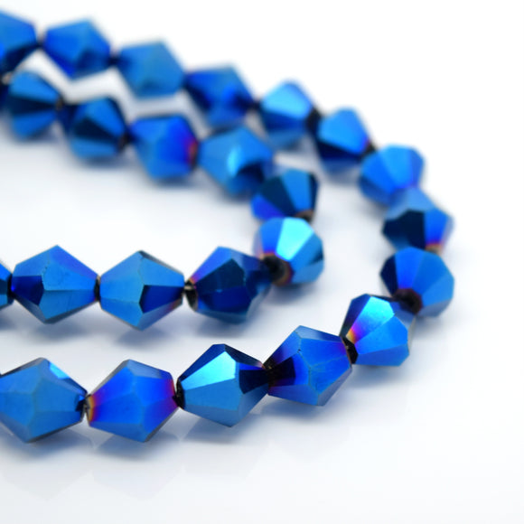 STAR BEADS: FACETED BICONE GLASS BEADS - METALLIC BLUE - Bicone Beads