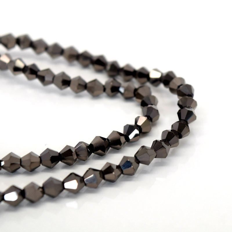 STAR BEADS: FACETED BICONE GLASS BEADS - METALLIC DARK COFFEE - Bicone Beads