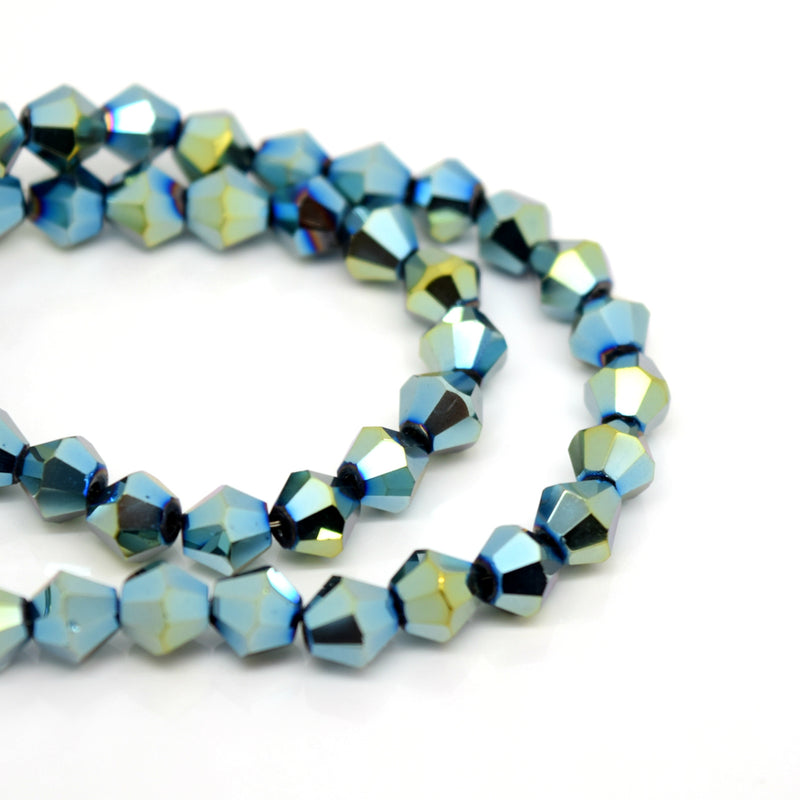 STAR BEADS: FACETED BICONE GLASS BEADS - METALLIC GOLD / GREEN - Bicone Beads