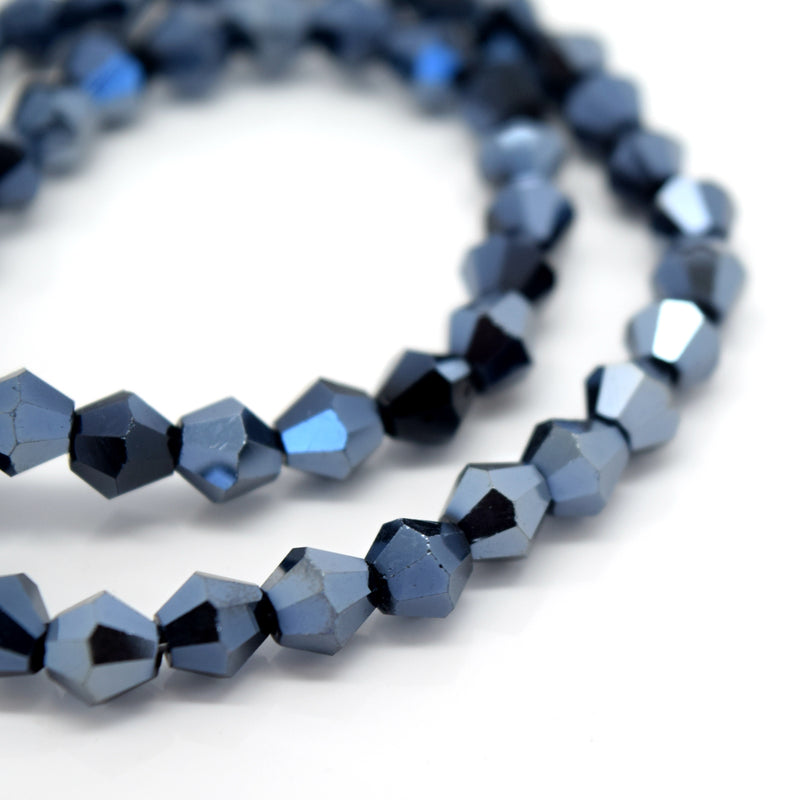 STAR BEADS: FACETED BICONE GLASS BEADS - METALLIC JET - Bicone Beads