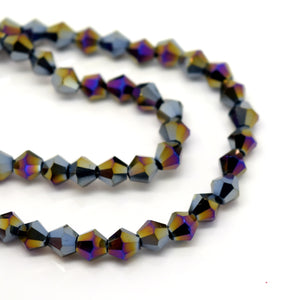 STAR BEADS: FACETED BICONE GLASS BEADS - METALLIC JET / MULTI - Bicone Beads