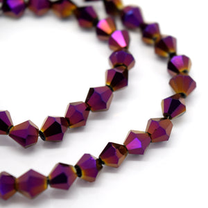 STAR BEADS: FACETED BICONE GLASS BEADS - METALLIC PURPLE - Bicone Beads