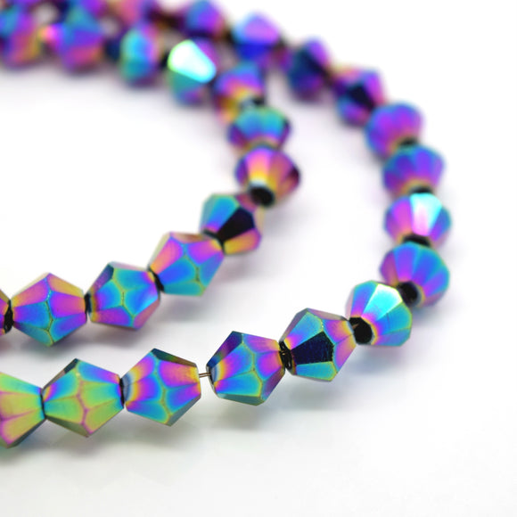 STAR BEADS: FACETED BICONE GLASS BEADS - METALLIC VITRAIL - Bicone Beads