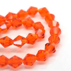 STAR BEADS: FACETED BICONE GLASS BEADS - ORANGE - Bicone Beads