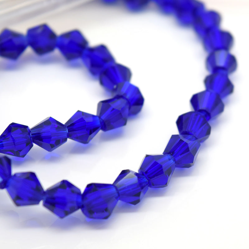 STAR BEADS: FACETED BICONE GLASS BEADS - ROYAL BLUE - Bicone Beads