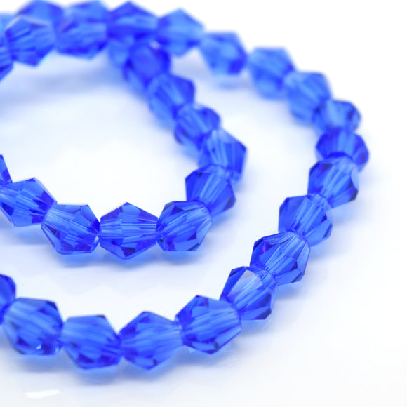 STAR BEADS: FACETED BICONE GLASS BEADS - SAPPHIRE - Bicone Beads