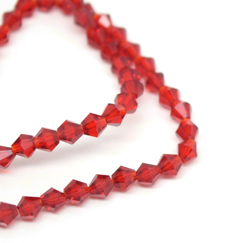 STAR BEADS: FACETED BICONE GLASS BEADS - SIAM - Bicone Beads