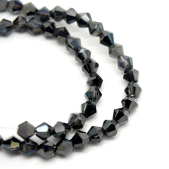 STAR BEADS: FACETED BICONE GLASS BEADS - SILVER / METALLIC JET - Bicone Beads