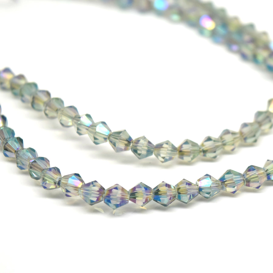 STAR BEADS: 115 x Faceted Bicone Glass Beads 4mm - Silver / Light Green AB - Bicone Beads