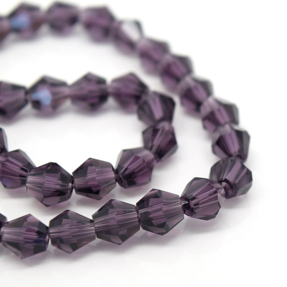 STAR BEADS: FACETED BICONE GLASS BEADS - VIOLET - Bicone Beads