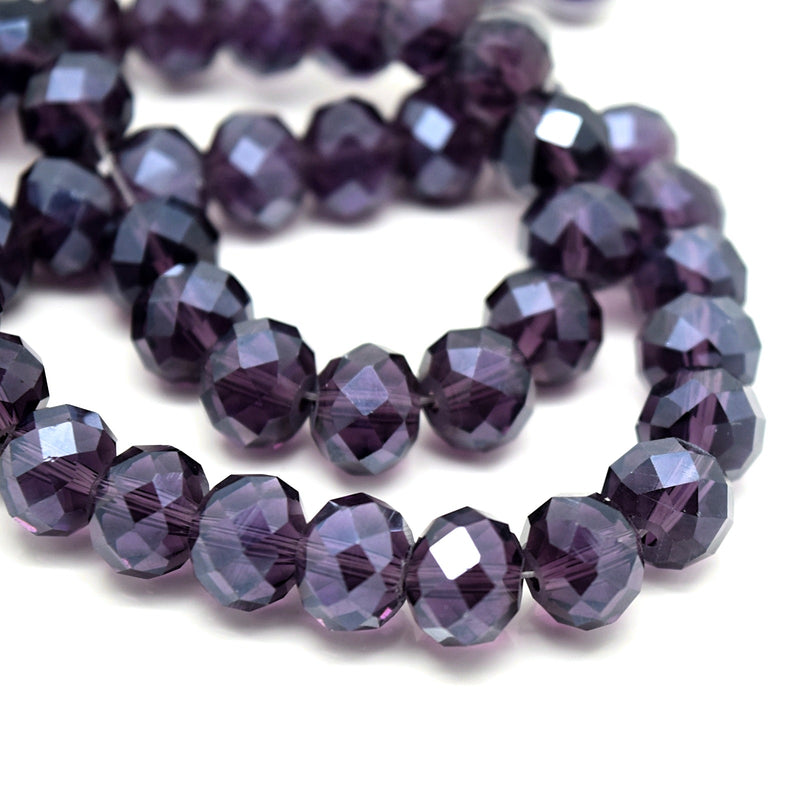 70 x Faceted Rondelle Glass Beads Blackcurrant Lustre 10x8mm