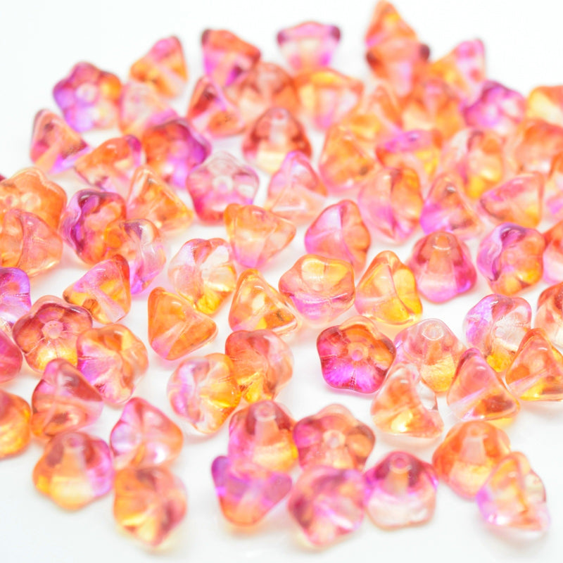 Czech Pressed Glass Bell Flower Beads 6x8mm (60pcs) - Pink / Peach