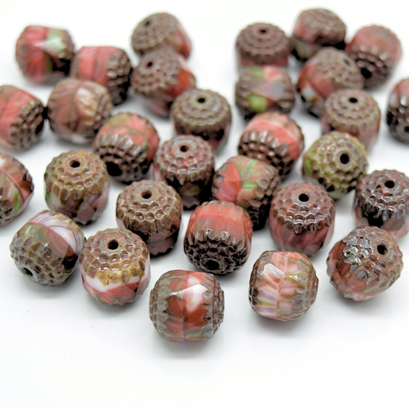 Czech Faceted Pressed Glass Cathedral Round Beads 10mm (15pcs) - Brown / Orange / Green