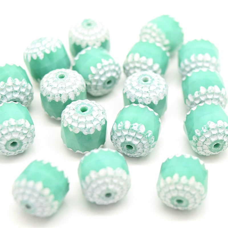 Czech Faceted Pressed Glass Cathedral Round Beads 10mm (15pcs) - Opaque Turquoise / White