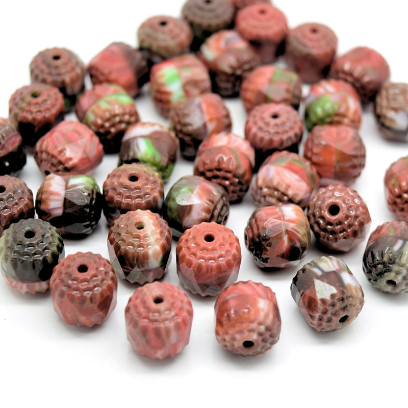 Czech Faceted Pressed Glass Cathedral Round Beads 10mm (15pcs) - Orange / Brown / Green