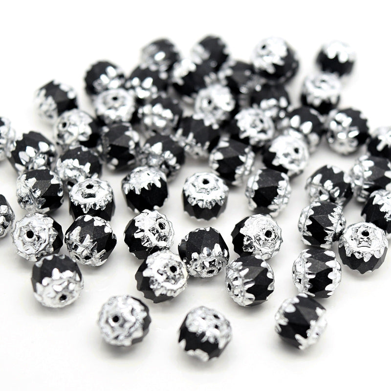 Czech Faceted Pressed Glass Cathedral Round Beads Pick Size - Black / Silver