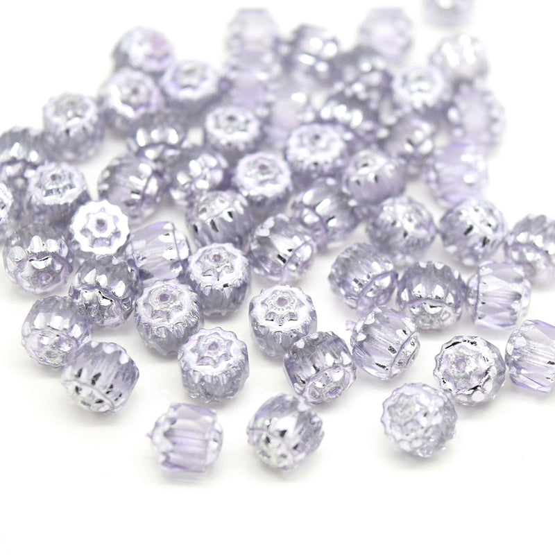Czech Faceted Pressed Glass Cathedral Round Beads 6mm (60pcs) - Light Grey / Silver