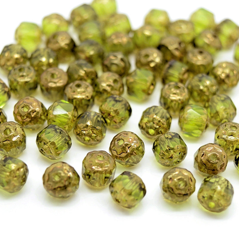 Czech Faceted Pressed Glass Cathedral Round Beads Pick Size - Olivine / Bronze
