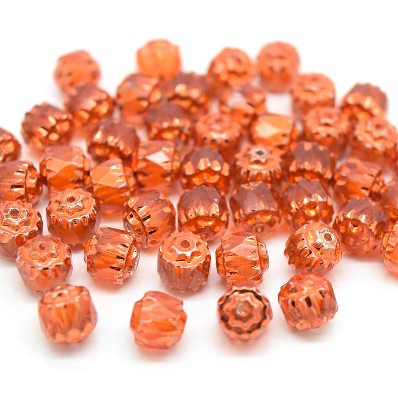 Czech Faceted Pressed Glass Cathedral Round Beads 6mm (60pcs) - Orange