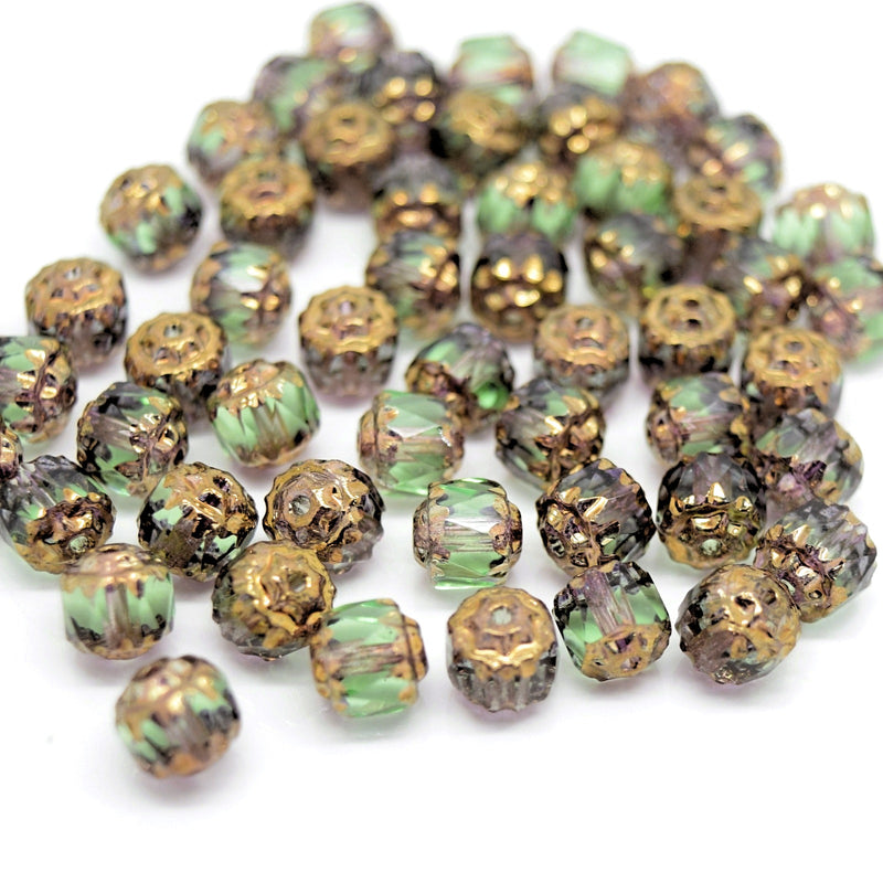 Czech Faceted Pressed Glass Cathedral Round Beads 6mm (60pcs) - Peridot / Bronze