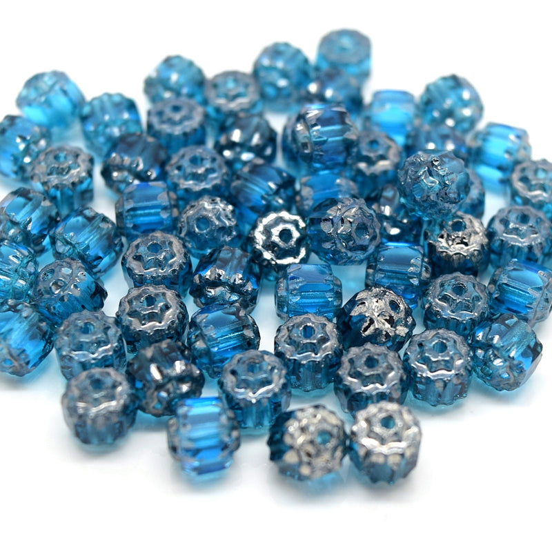 Czech Faceted Pressed Glass Cathedral Round Beads 6mm (60pcs) - Turquoise / Silver