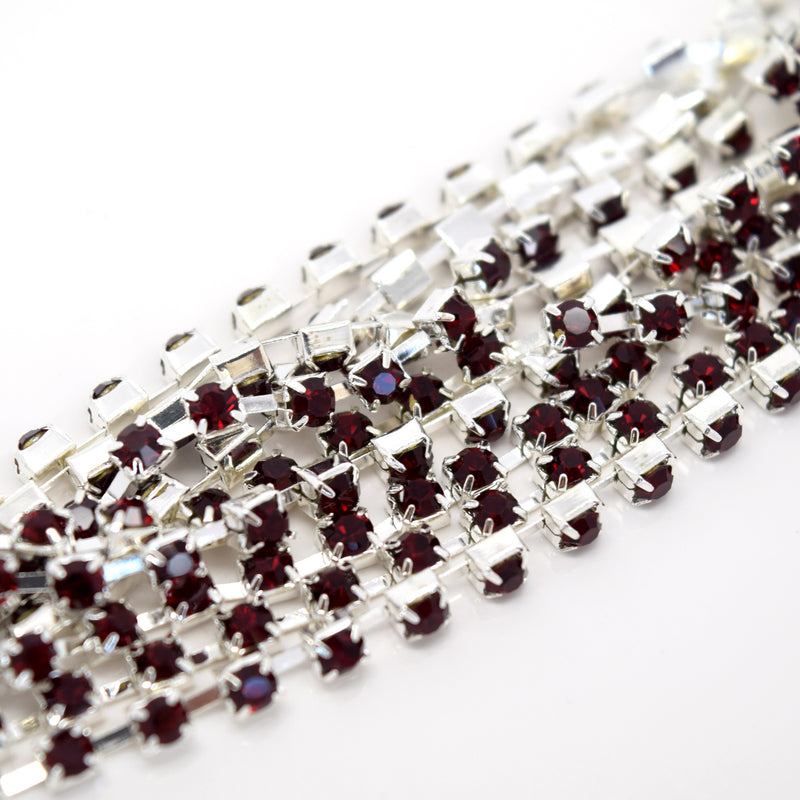 STAR BEADS: 1m Rhinestone Chains 2.80-3mm - Siam / Silver Plated - RHINESTONE CHAIN