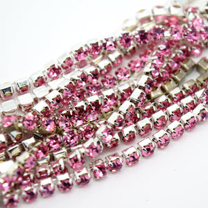 STAR BEADS: 1m Rhinestone Chains 2.80-3mm - Rose  / Silver Plated - RHINESTONE CHAIN