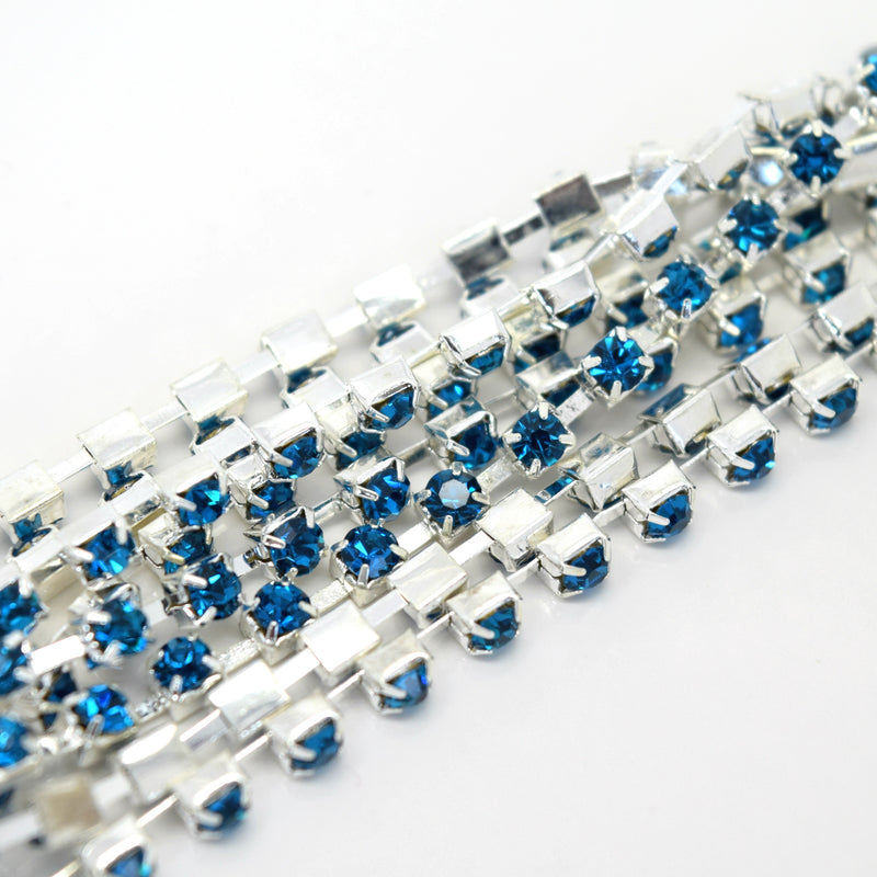 STAR BEADS: 1m Rhinestone Chains 2.80-3mm - Turquoise / Silver Plated - RHINESTONE CHAIN