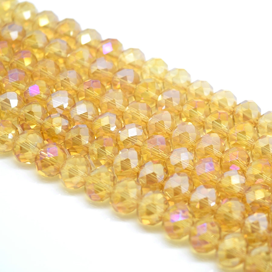 Faceted Rondelle Glass Beads - Champagne AB