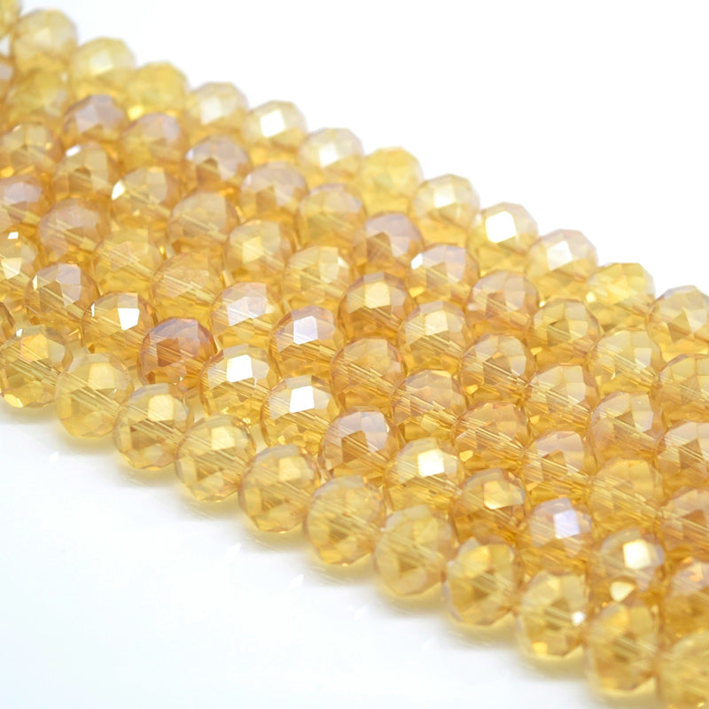 Faceted Rondelle Glass Beads - Champagne Lustre