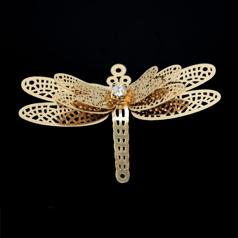 2 x Filigree GP Connectors With Rhinestones - Dragonfly 34x51mm