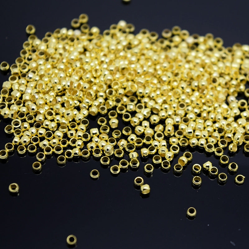 STAR BEADS: 1,000 x 2mm Round Crimp Beads  - Gold Plated - Crimp Beads