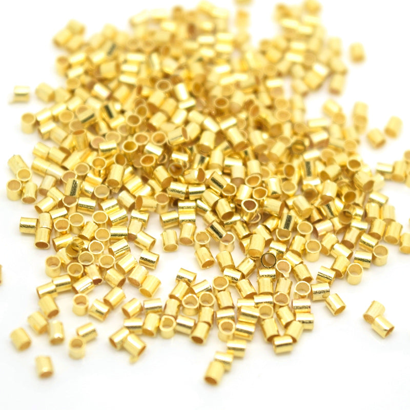 STAR BEADS: 1,000 x 1.5mm Tube Brass Crimp Beads  - Gold Plated - Crimp Beads