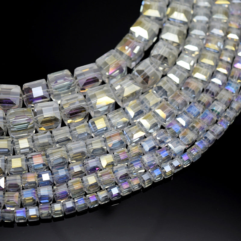 Faceted Cube Glass Beads - Clear AB
