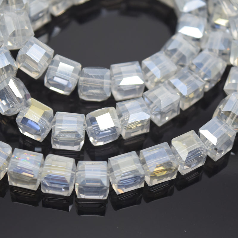 Faceted Cube Glass Beads - Clear Lustre