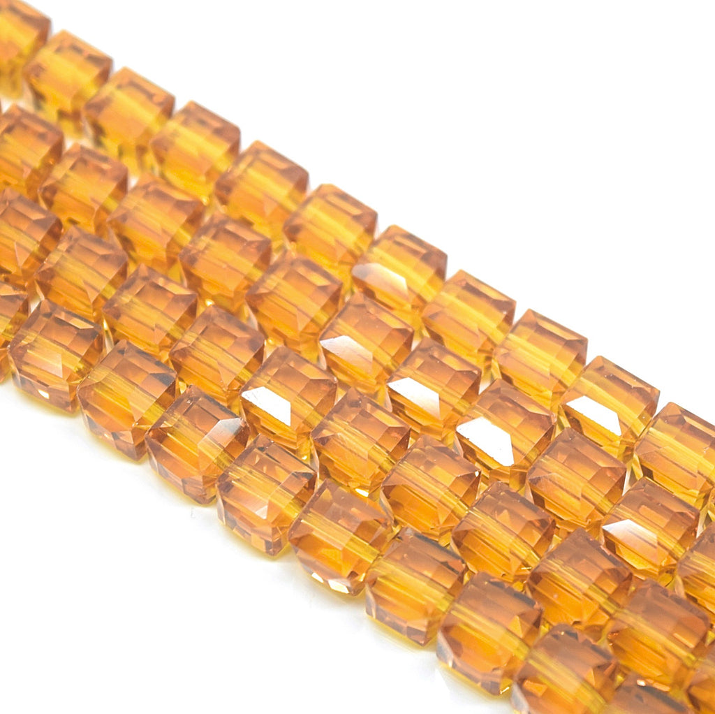 STAR BEADS: 70 X FACETED CUBE GLASS BEADS 8MM - PICK COLOUR - Cube Beads