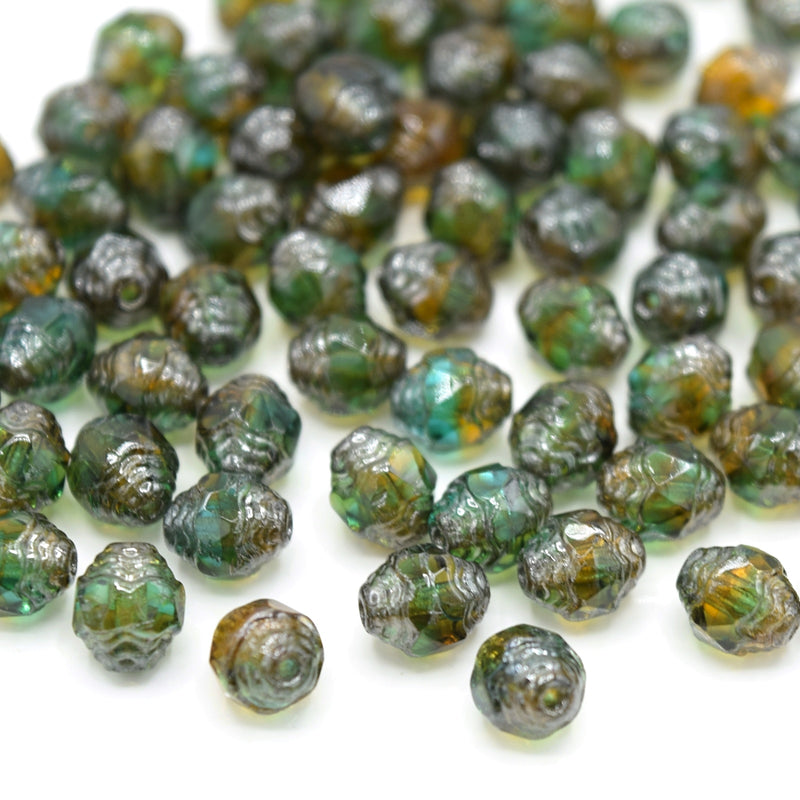 Czech Faceted Glass Bicone Bols Beads 8x6mm (30pcs) - Green / Topaz