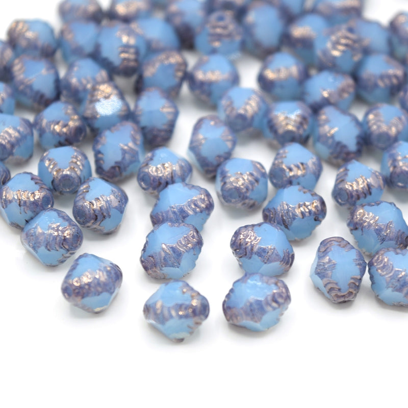 Czech Faceted Glass Bicone Bols Beads 8x6mm (30pcs) - Opaque Blue