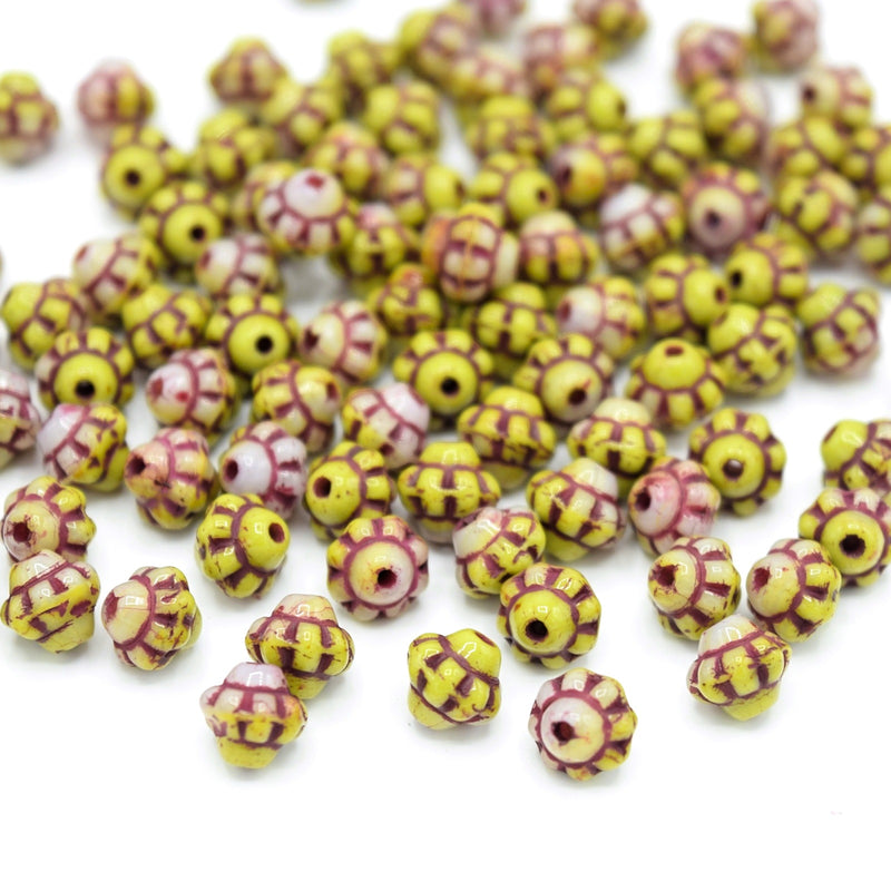 Czech Pressed Glass Daisy Bicone Spacer Beads 6mm (120pcs) - Yellow / Red