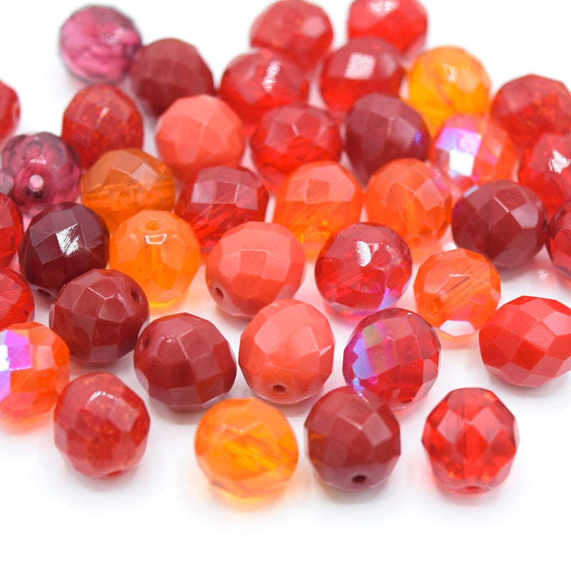Czech Fire Polished Mix Faceted Glass Round Beads Pick Size -  Red