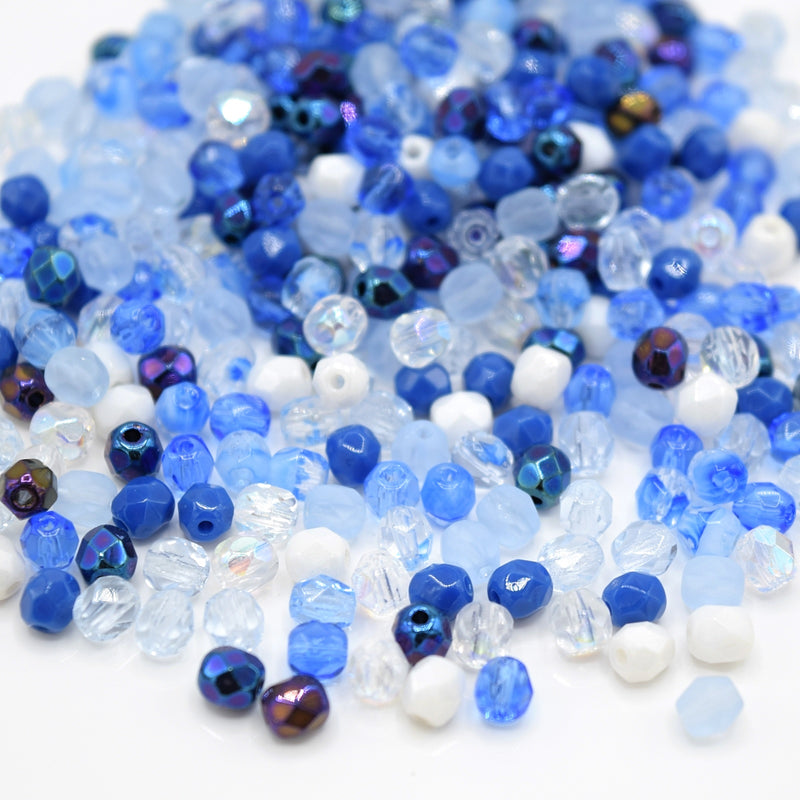 Czech Fire Polished Mix Faceted Glass Round Beads 4mm (120pcs) - Light Blue